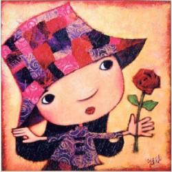 Puzzle bois 25 pièces - Jeune fille à la rose