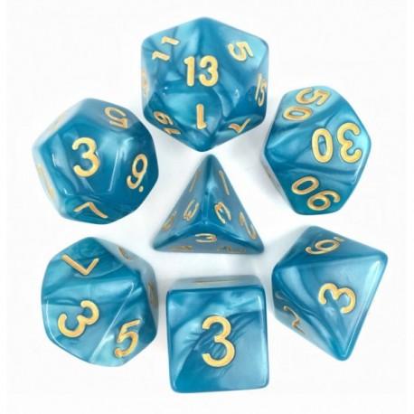 Set de dés - Bleu nacré et or