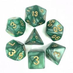 Set de dés - Vert nacré et or