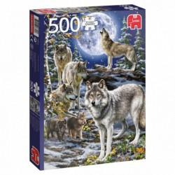 Puzzle 500 pièces - Meute de loups en hiver